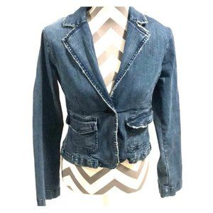 BB Dakota Distressed Denim Jean Jacket Blazer Med